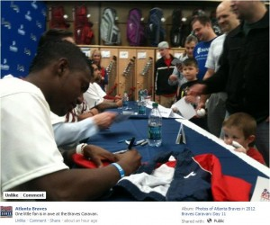 Bentley Getting His Jacket Signed By Julio Teheran